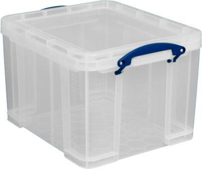 Kunststof box, transparant, met deksel, 35 liter