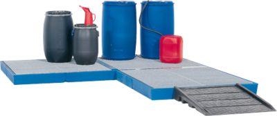Kunststof opvangbak, 220 liter, met verzinkt rooster