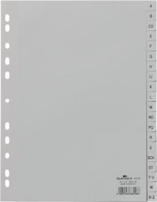 Kunststof tabbladen,  A4, A-Z, grijs