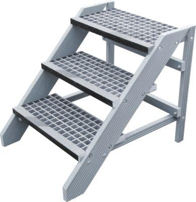 Kunststofftritt im Bausatz, mit Gitterroststufen, 3 Stufen