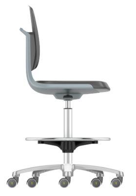 LABSIT industriële stoel hoog, kunstleder, met zit-stop-wielen, b 450 x d 420 x h 560-810 mm, antraciet