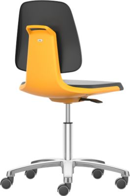 LABSIT industriële stoel, kunstleder, met wielen, b 450 x d 420 x h 450-650 mm, oranje