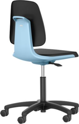 LABSIT Labordrehstuhl, o. Armlehne, m. Rollen, Rückenlehnenhöhe 420 mm, Kunstleder, blau