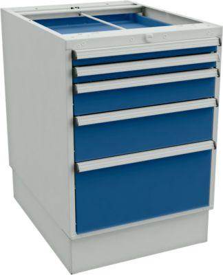 Laddeblokken voor bureautafels met sokkel, 550 mm breed, 5 laden, d 715 x h 800 mm, grijs/blauw