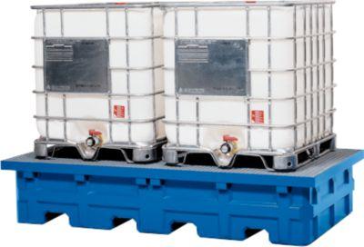 Lager- und Abfüllstation für 2 Tankcontainer, mit verzinktem Gitterrost