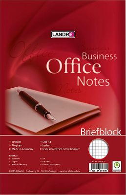 Landré A4 notablok Office, A4, geruit, 50 vel, 10 stuks