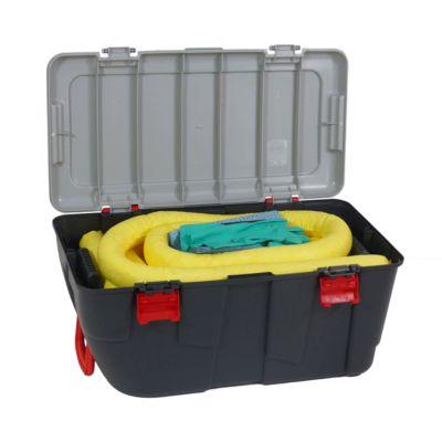 Leckage Notfallset universell gelb, 100 l Aufnahme, 77 Teile, in fahrbarem Koffer