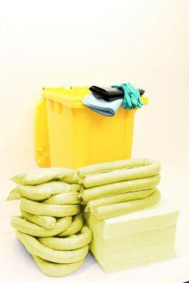 Leckagen-Notfallset im Rollcontainer, 167-teilig, für Chemikalien, Aufnahmekapazität 200 l