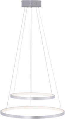 LED-Pendelleuchte CIRCLE-DUO, stahlfarben, Lichtfarbe einstellb., Fernsteuerung, 10+30W, B520xT520 mm