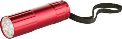 LED-Taschenlampe mit 9 LEDs, inkl. Lasergravur und allen Grundkosten, rot