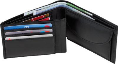 Leder-Geldbörse DAX, schwarz, im Querformat, Steckfächer für Geld-/Visitenkarten