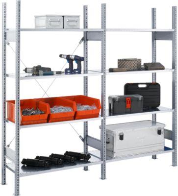 Legbordstelling FBR 2200, 1 basis- en 1 aanbouwsectie, 8 legborden, B 208 x D 300 mm