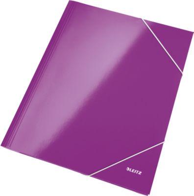 LEITZ® 3-klepsmappen WOW met hoekelastieken, violet