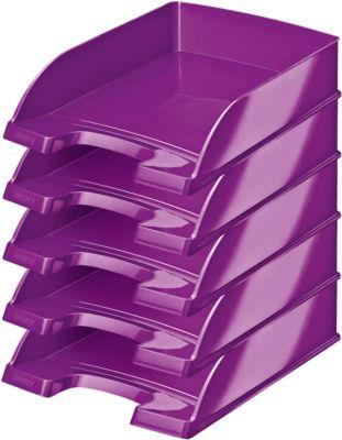 LEITZ® Ablagekorb Wow 5226, DIN A4, 5 Stück, metallic-violett
