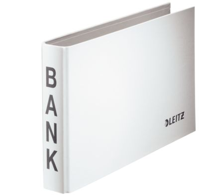 LEITZ® Bank-Ordner, A6 quer, Material: Karton PP-kaschiert, weiß