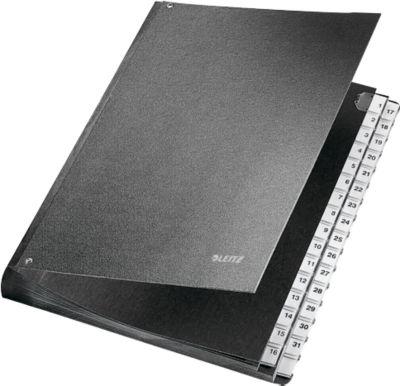 LEITZ® bureaubestand, voor DIN A4, numeriek, 31 vakken, grijs karton, grijs karton, zwart