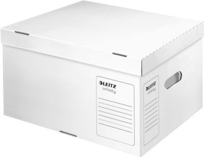 LEITZ® container Infinity met aparte deksel, voor archiefdozen, L formaat, karton, wit, réf. 6104, 10 stuks