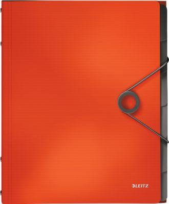 LEITZ® documentenmap massief, DIN A4, 3 beschermkappen, 6 vakken, PP, lichtrood, DIN A4, 6 vakken, PP, lichtrood