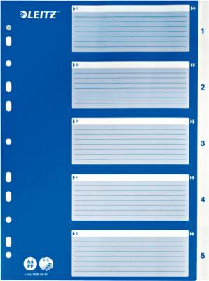 LEITZ®  Intercalaires en PP, A4, avec page de garde bleue, 1-5