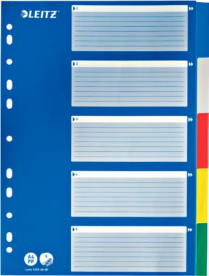 LEITZ®  Intercalaires en PP, A4, avec page de garde bleue, blanco