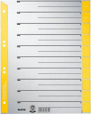 LEITZ® Kartonnen tabbladen met gekleurde tabs, te snijden, A4, geel, pak van 100 sets