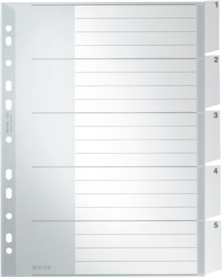 LEITZ Kunstoffregister mit Fenstertaben, DIN A4, 5 Blatt, Nr.1271