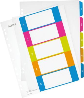 LEITZ® Kunststoffregister Wow, Zahlen 1-5, A4 Überbreite, PC-beschriftbar,einzeln