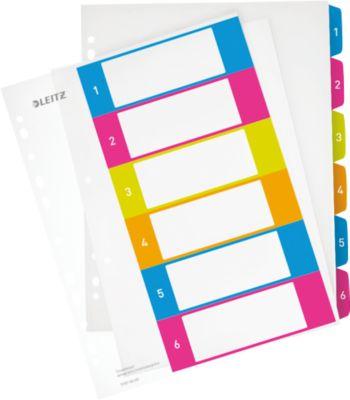 LEITZ® Kunststoffregister Wow, Zahlen 1-6, A4 Überbreite, PC-beschriftbar,einzeln