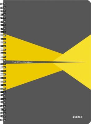 Leitz® Office Notitieboek A4 geruit, spiraalgebonden met kartonnen kaft, geel