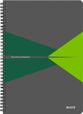 LEITZ® Office notitieboek A4, spiraalgebonden met PP kaft, 449500, geruit,groen