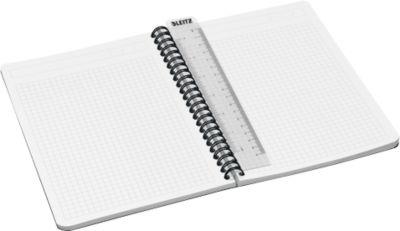 LEITZ® Office Notitieboek A5 geruit, spiraalgebonden met PP kaft,449800, grijs