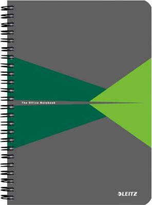 LEITZ® Office notitieboek A5, spiraalgebonden met PP kaft, geruit, 445800, groen