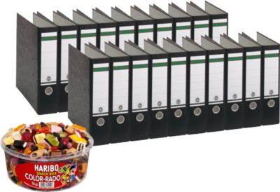 LEITZ® Ordner 1080 + 1kg HARIBO Color-Rado, DIN A4, Rückenbreite 80 mm, 20 Stück, schwarz