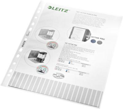 LEITZ Prospekthülle 4704, DIN A4, oben offen, 100 Stück, genarbt, transparent, 0,09 mm
