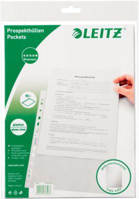 LEITZ Prospekthülle 4770, DIN A4, oben offen, 15 Stück, glasklar, transparent