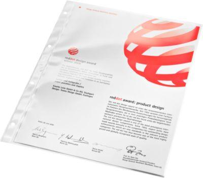 LEITZ Prospekthüllen 4734, DIN A4, oben offen, 100 Stück, glasklar, transparent