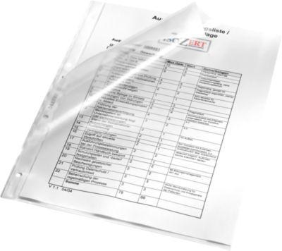 LEITZ Prospekthüllen 4784, DIN A4, oben/Lochseite, 100 Stück, durchgehend gelocht