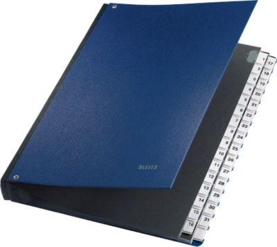 LEITZ® Pultordner, für DIN A4, numerisch, 31 Fächer, Graupappe, blau