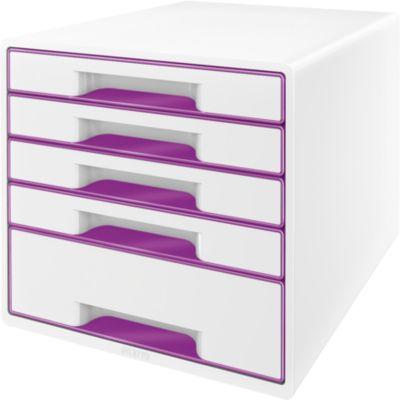 LEITZ® Schubladenbox WOW CUBE 5214, 5 Schübe, DIN A4, Polystyrol, violett
