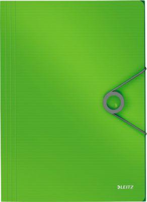 LEITZ® SOLID 3-kleps mappen met elastiek SOLID van PP, voor A4 formaat, helder groen