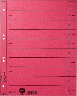 LEITZ® Trennblätter, DIN A4, Zahlen, 100 Stück, rot