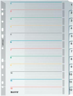 LEITZ®  Wiederbeschreibbare Kartonregister, Zahlen 1-12,  mit Lochung