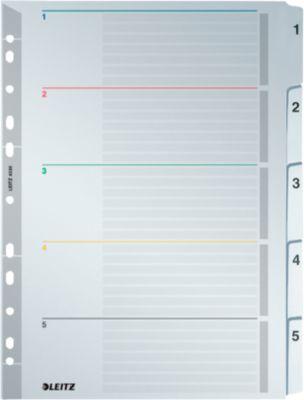 LEITZ®  Wiederbeschreibbare Kartonregister, Zahlen 1-5,  mit Lochung