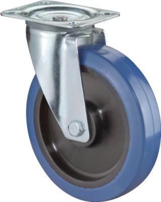 Lenkrolle, Elastic blau, rollengelagert, Bauhöhe 100 mm