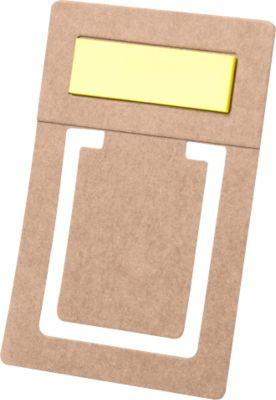 Lesezeichen Hirdox, Recyclingpappe, 54 x 82 mm, inkl. 15. Haftnotizen 12 x 38 mm, Tampondruck 30 x 20 mm