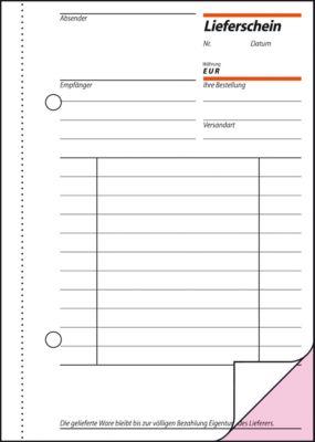 Lieferschein Sigel LI625, mit Empfangsschein, mit Blaupapier, DIN A6, 2 x 50 Blatt