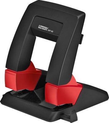 Locher Rapid SP30 Press Less SB, 2-fach Lochung 80 mm, für 30 Blatt, ergonomisch, schwarz-rot