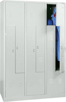 Locker, 6 compartimenten, 6 vakken, Z-deuren, met sokkel, draaivergrendeling, lichtgrijs