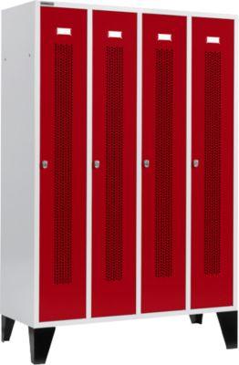 Locker met doorlopende ventilatiegaatjes, 4 afdelingen, 300 mm, met poten, deuren robijnrood