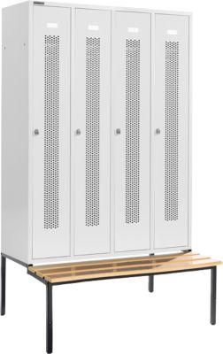 Locker met doorlopende ventilatiegaatjes, 4 afdelingen, 300 mm, met zitbank, lichtgrijs/lichtgrijs